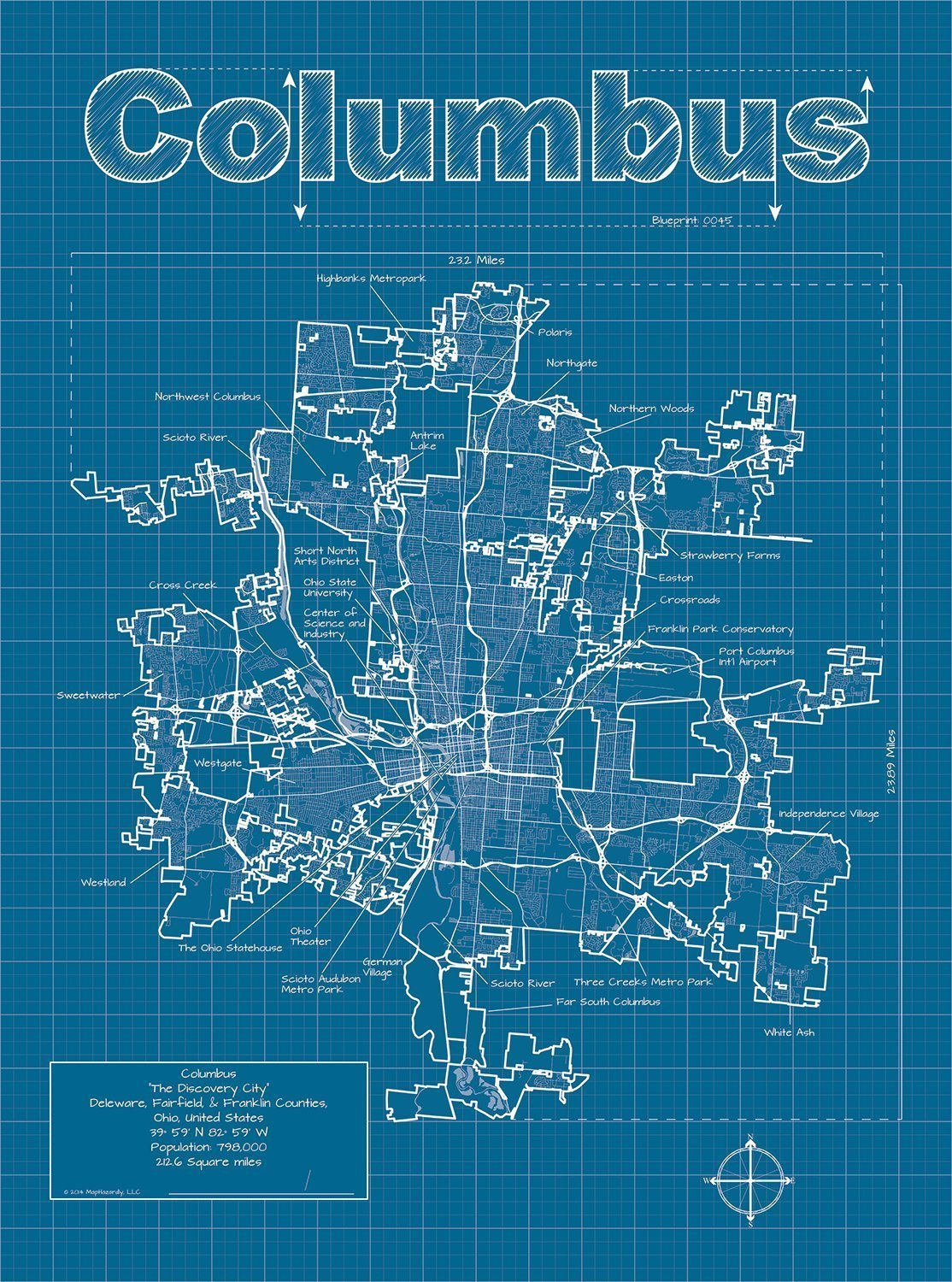 Amazon columbus ohio map blueprint style handmade malvernweather Images