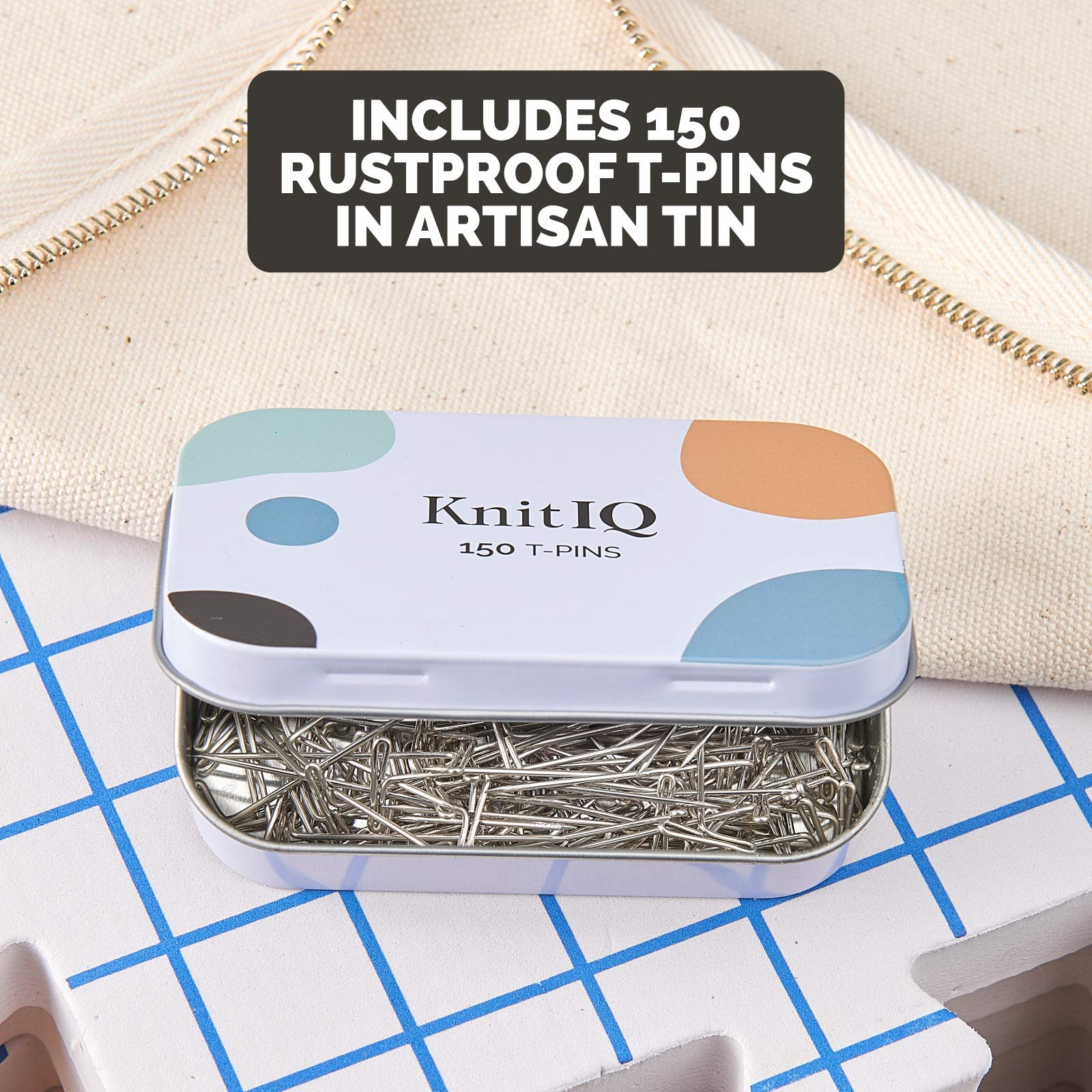 KnitIQ Blocking Mats for Knitting Premium Set - Extra Thick Blocking Boards with Grids, 150 Strong and Rustproof T-Pins in Artisan Tin, Quality Knitting Bag for Needlework or Crochet - Pack of 9 by KnitIQ (Image #6)
