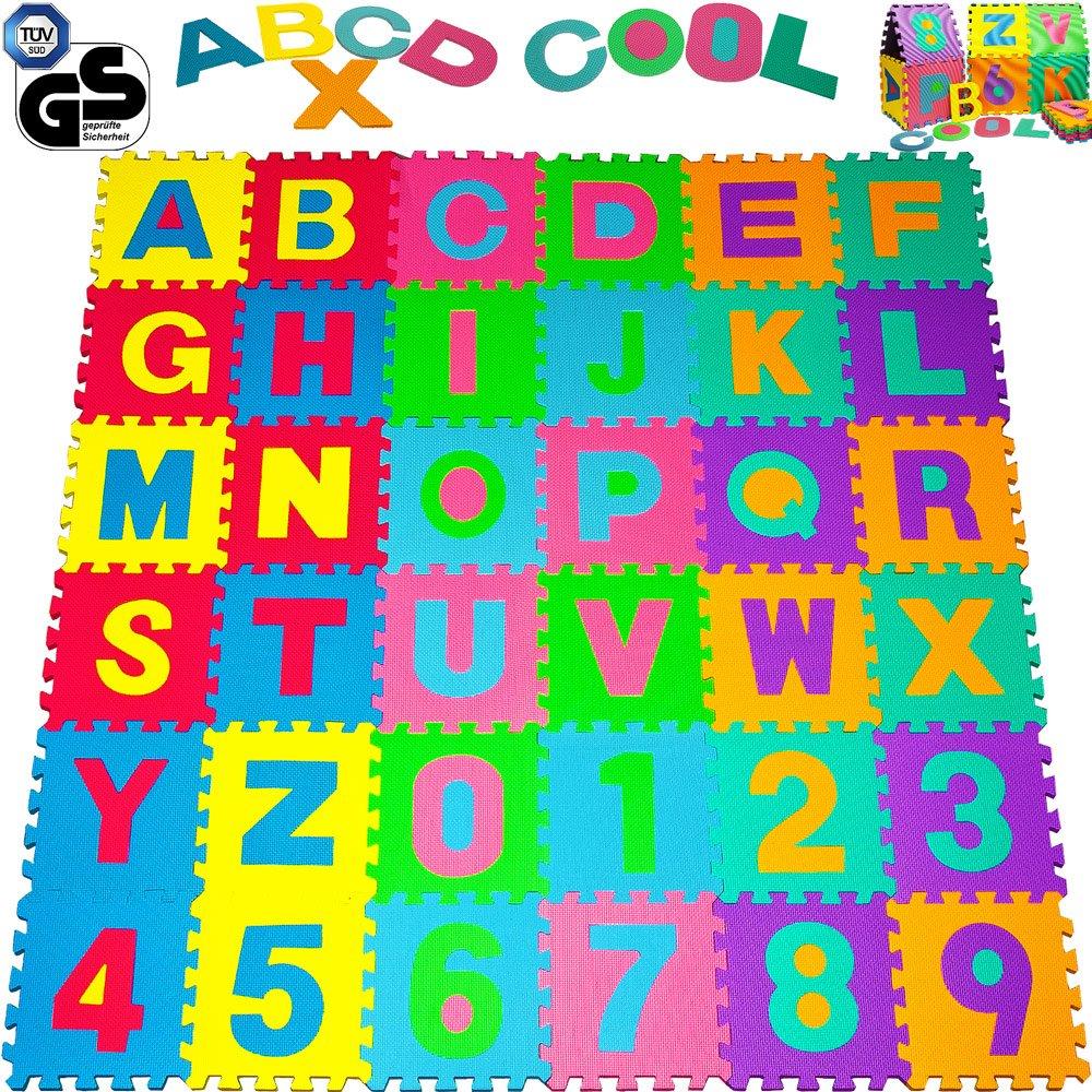 Alfombra Puzzle de 36 Piezas   3,68m²   Alfombrilla de juego infantil   Gomaespuma EVA   Resistente a la humedad   Lavable   Colores resistentes Rompecabezas   86 Piezas individuales   Deuba 101166
