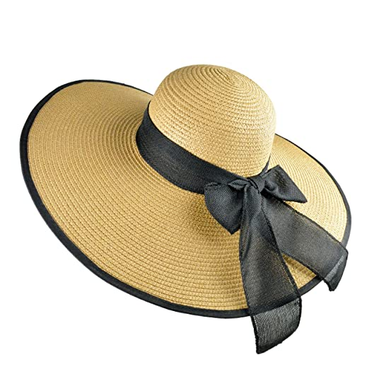 Tea Party Hats – Victorian to 1950s DRESHOW Floppy Beach Hat for Women Large Brim Straw Sun Hats Roll up Packable UPF 50+ $12.99 AT vintagedancer.com