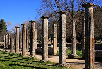 Olympics Relics Backdrop 8x6ft Polyester Photography Background Weathered Stone Pillars Road Tourism Resort Greece Cultural Relics Parkland Ancient Architecture Historical Building Sightseeing