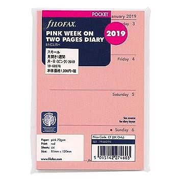 Filofax 19-68278 - Recambio para agenda (2019, semana en dos páginas), color rosa