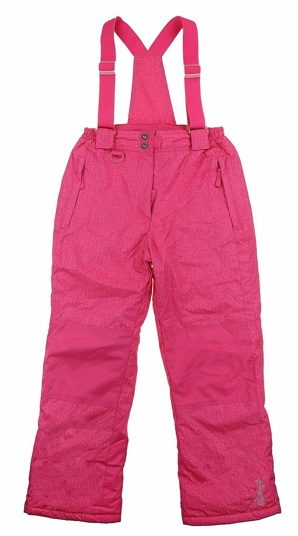 5//6 X-Small Weatherproof 32 Degrees Girls Winter Snow Ski Boarder Lined Suspender Bib Pant , Cherry Pink Hatch