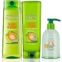 Garnier Hair Care Fructis Sleek & Shine Shampoo, Conditioner, and Anti Frizz Serum Treatment, For Frizzy, Dry Hair, Made…