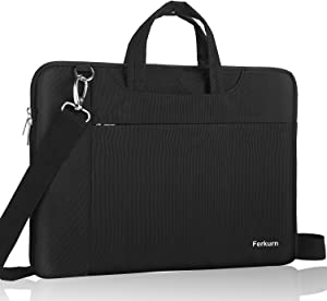 "Ferkurn 14-15.6 Inch Laptop Sleeve Shoulder Case Protective Bag with Handle Compatible with MacBook Pro 16""/14"" 15"" 15.6"" HP Asus Acer Chormebook Notebook Inspiron, Waterproof Cover with Pocket,Black"