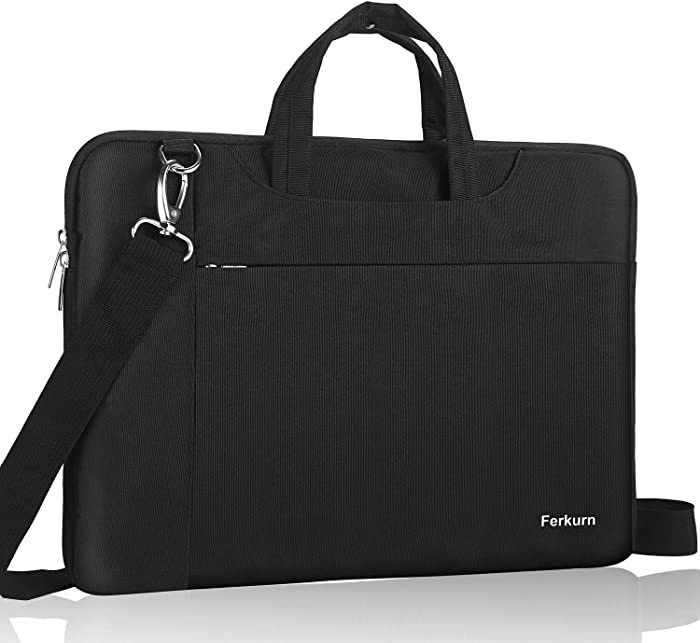 """Ferkurn 14-15.6 Inch Laptop Sleeve Shoulder Case Protective Bag with Handle Compatible with MacBook Pro 16""""/14"""" 15"""" 15.6"""" HP Asus Acer Chormebook Notebook Inspiron, Waterproof Cover with Pocket,Black"""