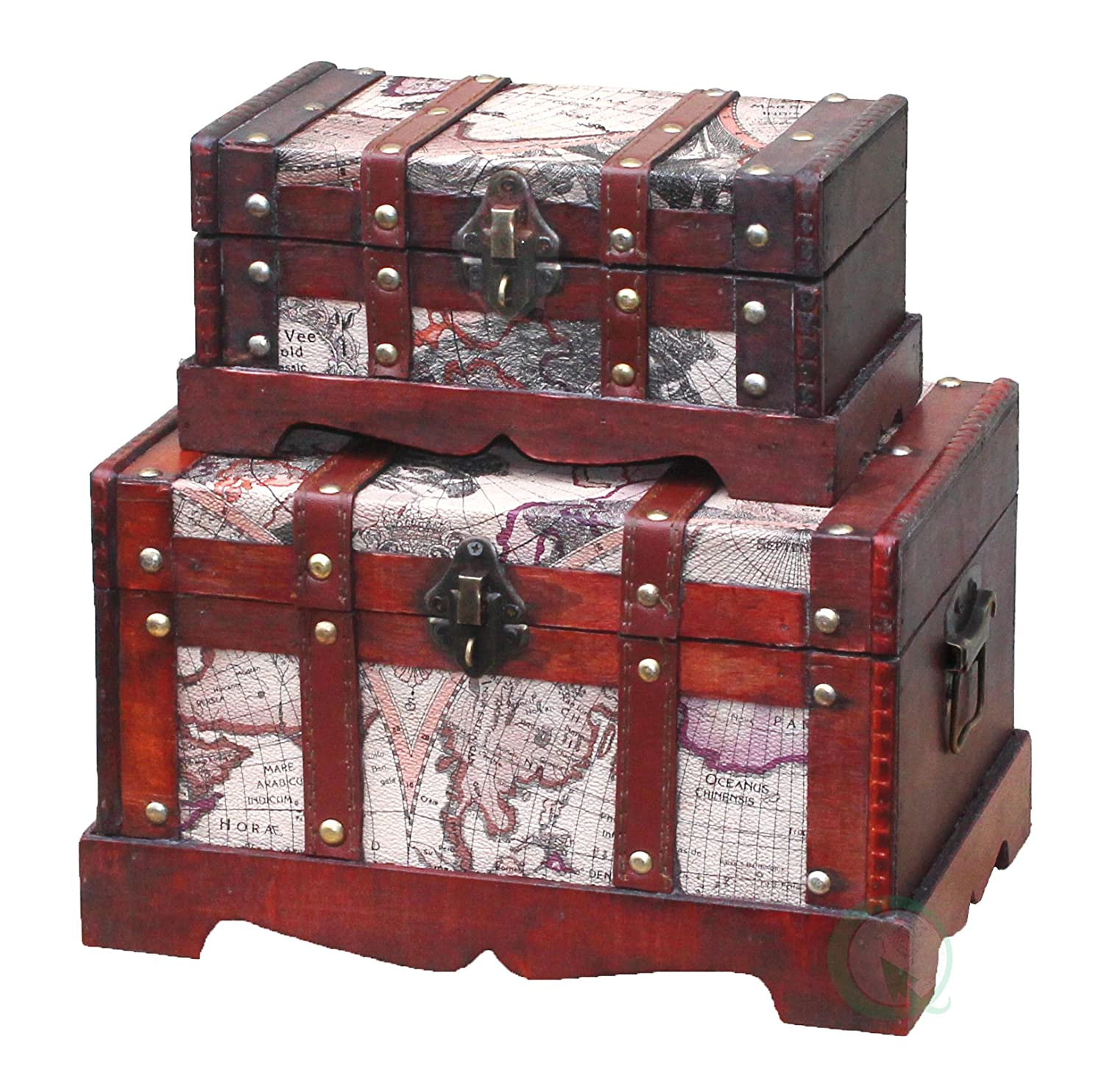 Large Chest Only Only Vintiquewise QI003037.L Old World Map Wooden Trunk Cherry