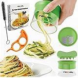 Premium Gemüsespaghetti Spiralschneider mano de patata, con haces Kochbuch y contiene el cepillo de limpieza - FabQuality calabacines, Spargelschäler Gurkenschneider, Gurkenschäler, Möhrenreibe Möhrenschäler, Gemüsehobel
