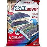 Spacesaver Premium Vacuum Storage Bags 6 Pack (2 x Medium, 2 x Large, 2 x Jumbo) 80% More Storage! Hand-Pump for Travel! Doub