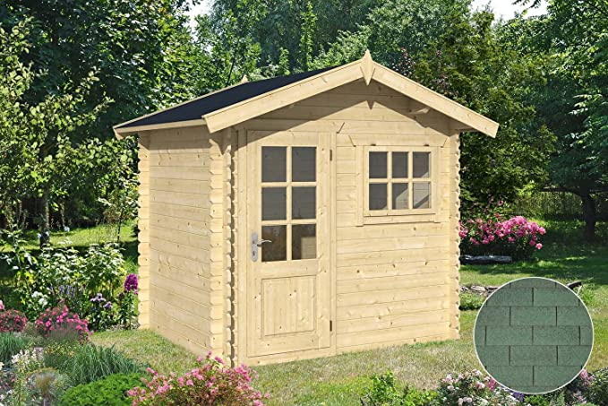Cobertizo de madera para jardín lubéron tejas vertical verde: Amazon.es: Jardín