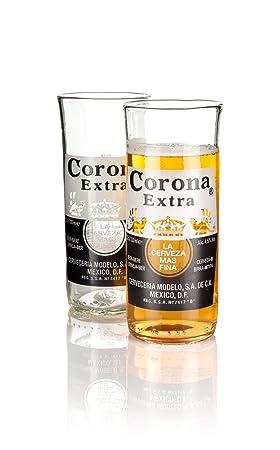 Vasos de cristal reciclado de botellas de Corona Extra, juego de dos unidades en caja