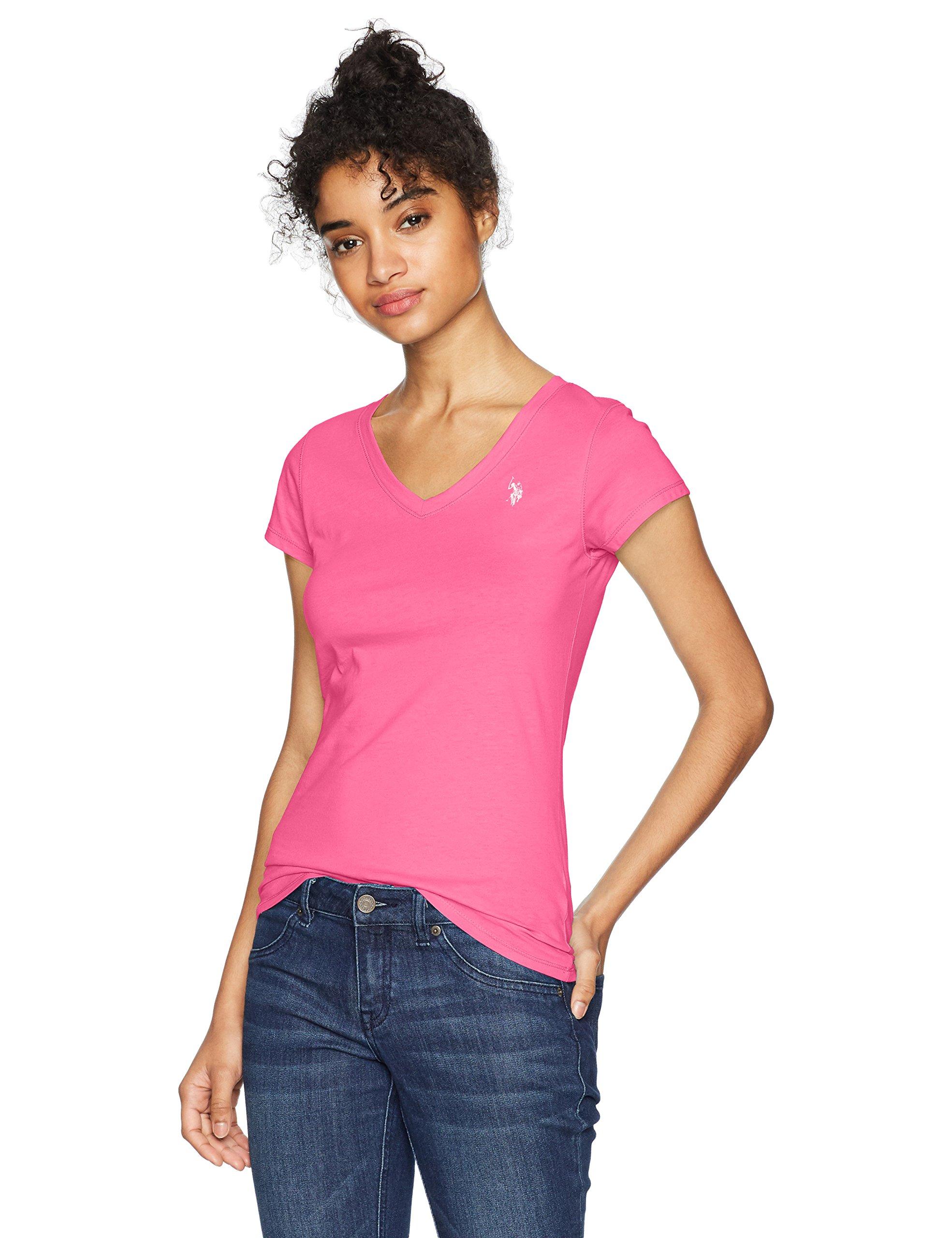 US Polo Assn Women's Short Sleeve V-Neck T-Shirt, Pink Oleander-Bmkm, XL