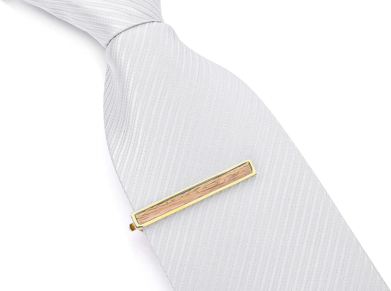 MeMeDIY Oro Dorado Tono Rodio Plateado Madera Corbata Tie Clip Bar ...