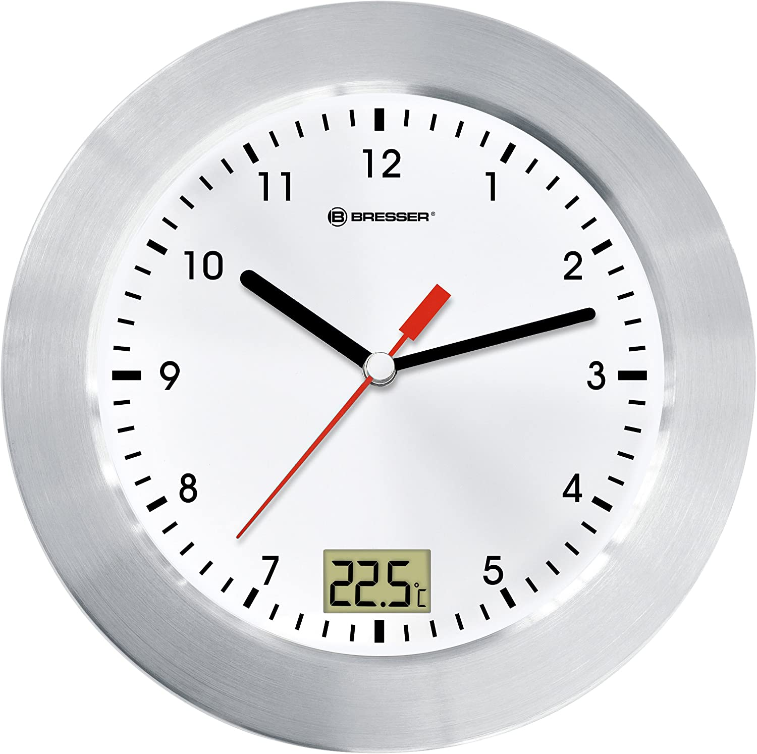 Bresser Wall Clock MyTime Bath for Bathroom with Temperature Display White//Sil