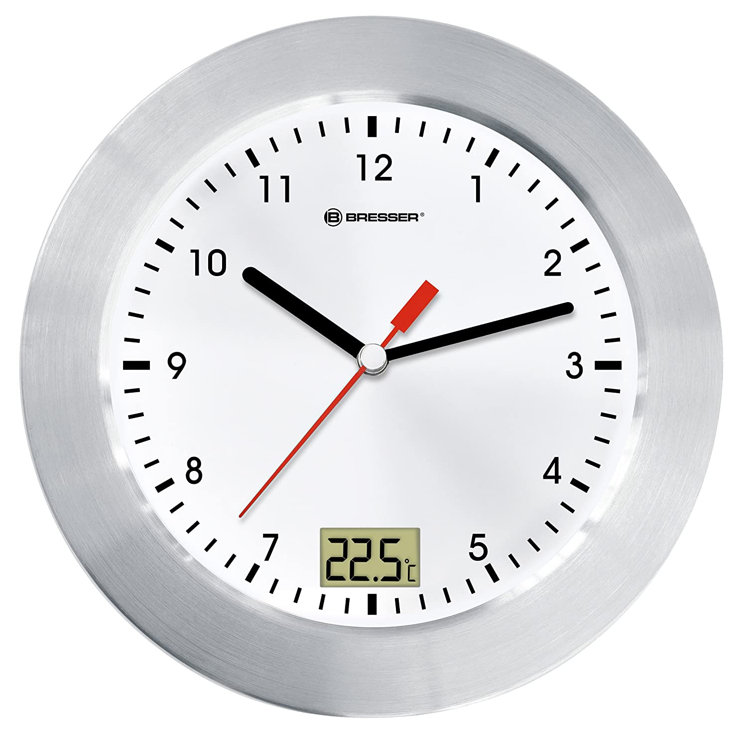 ff0f44c51d8af Bresser Wall Clock MyTime Bath for Bathroom with Temperature Display -  White/ Silver