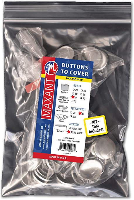 Made in USA Self Cover Buttons with Flat Backs Size 45 with Tool 50 Buttons to Cover