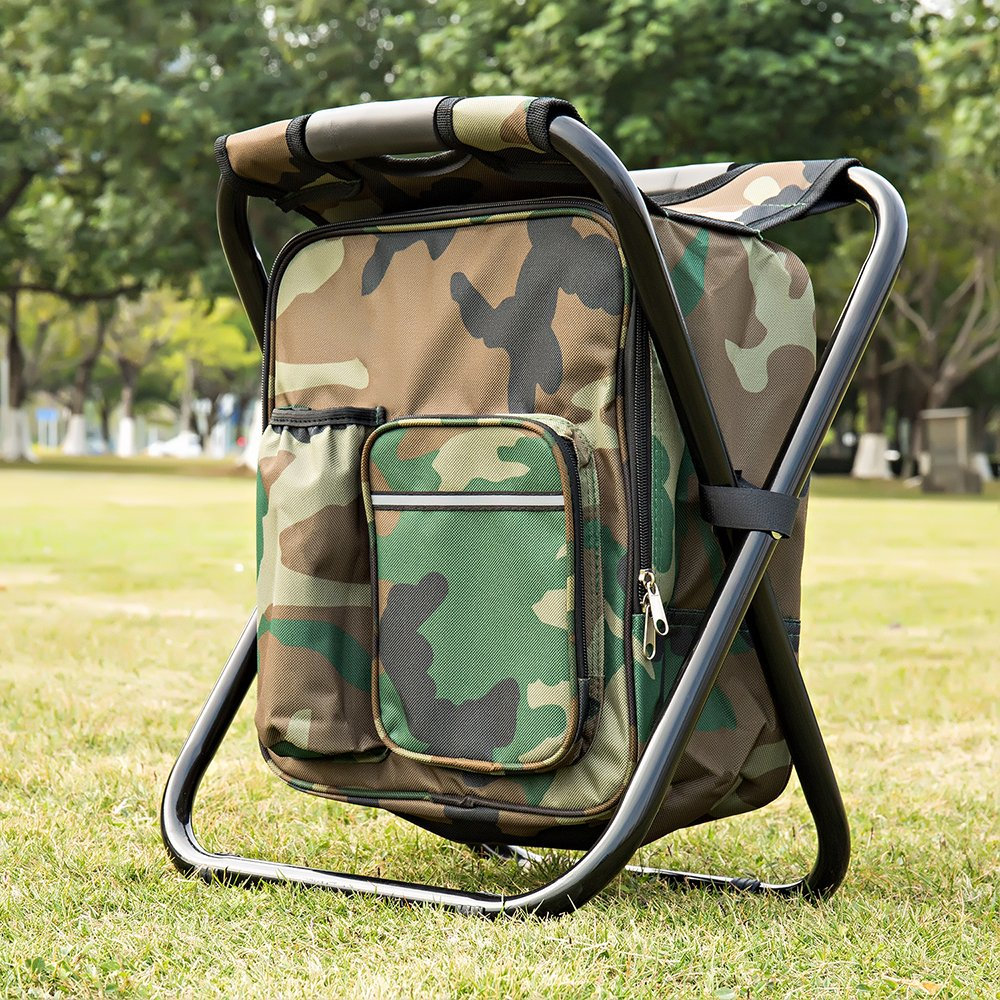 Bright starl Multifunction Folding Cooler and Stool Backpack Picnic Bag, Hiking Camouflage Seat Table Bag Camping Gear for Outdoor Indoor Fishing Travel Beach BBQ by Bright starl (Image #2)