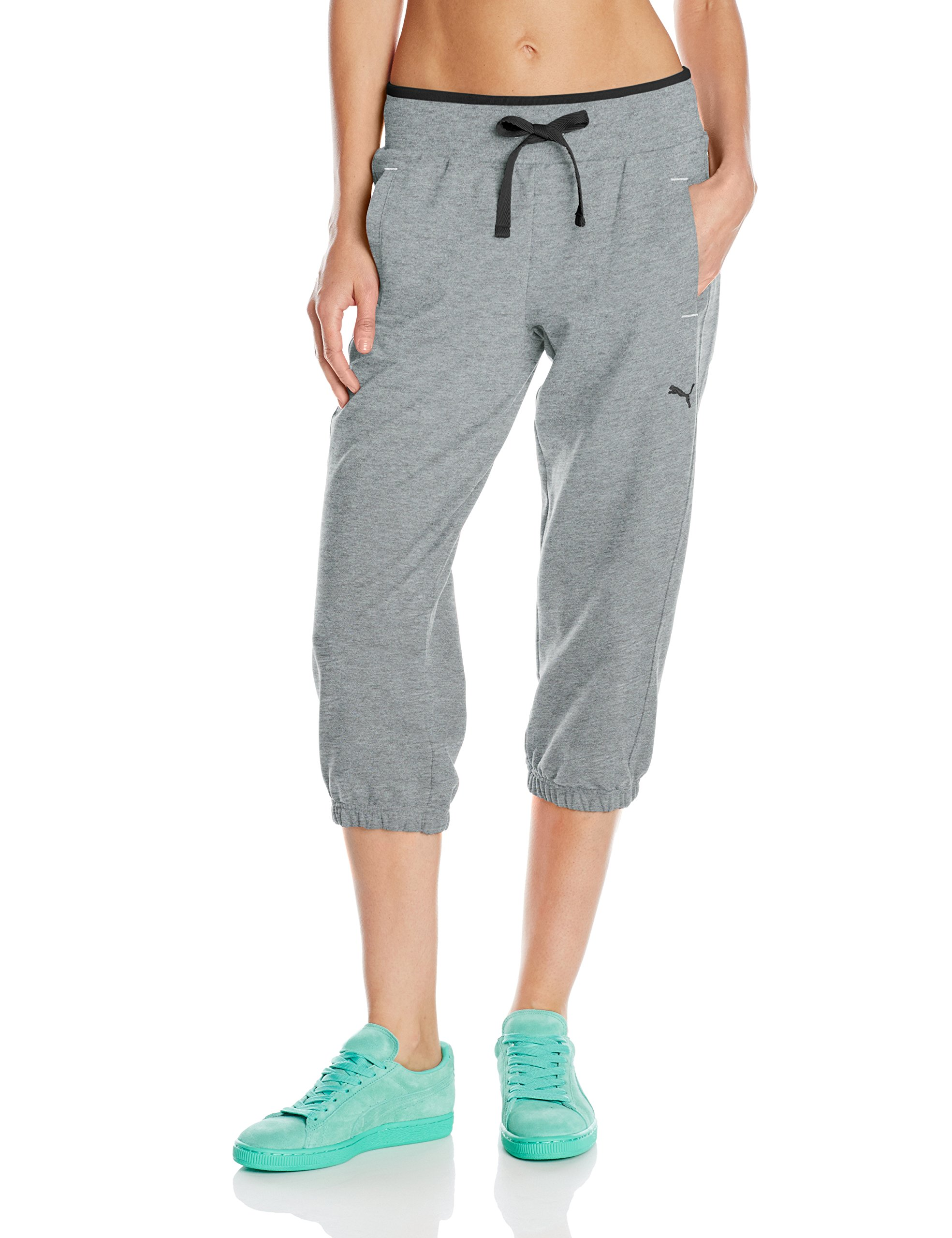 PUMA Women's Sweat Capri, Medium Heather Grey, Large