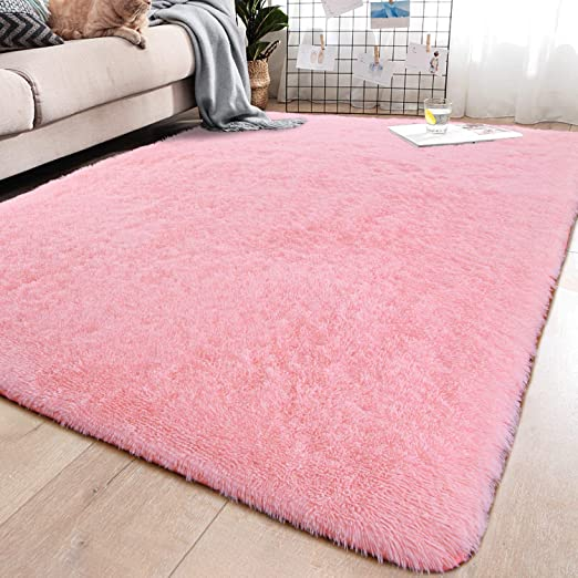 Amazon Com Yj Gwl Soft Shaggy Area Rugs For Bedroom Fluffy Living Room Rugs Anti Skid Nursery Girls Carpets Kids Home Decor Rugs 4 X 5 3 Feet Pink Home Kitchen