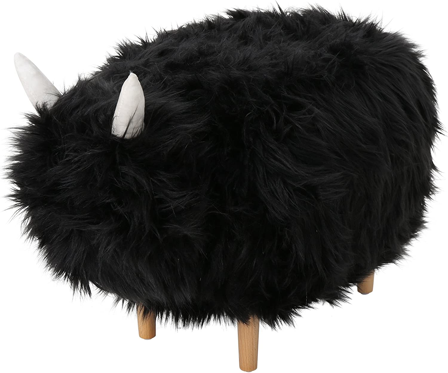 Christopher Knight Home Kamla Furry Yak Ottoman, Black, Natural Finish