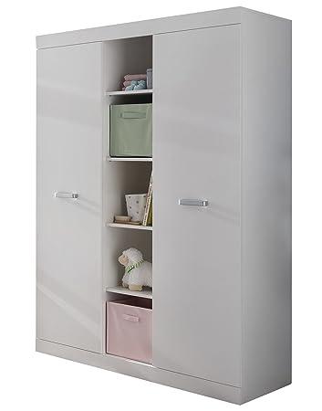 trendteam smart living Babyzimmer Kleiderschrank Schrank Ronja, 120 x 185 x  54 cm in Weiß mit offenen Fächern und viel Stauraum