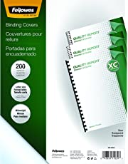 Fellowes Crystals Clear PVC Binding Covers, 8mil Letter, 200 Pack (5204303)