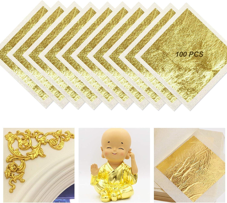 4.33cm 24 Karat Goldfolie zum Basteln Lebensmittel Kuchen Backen Torten Dekorfolie Kunsthandwerk FUNVCE 100Blatt Blattgold Goldblatt 4.33