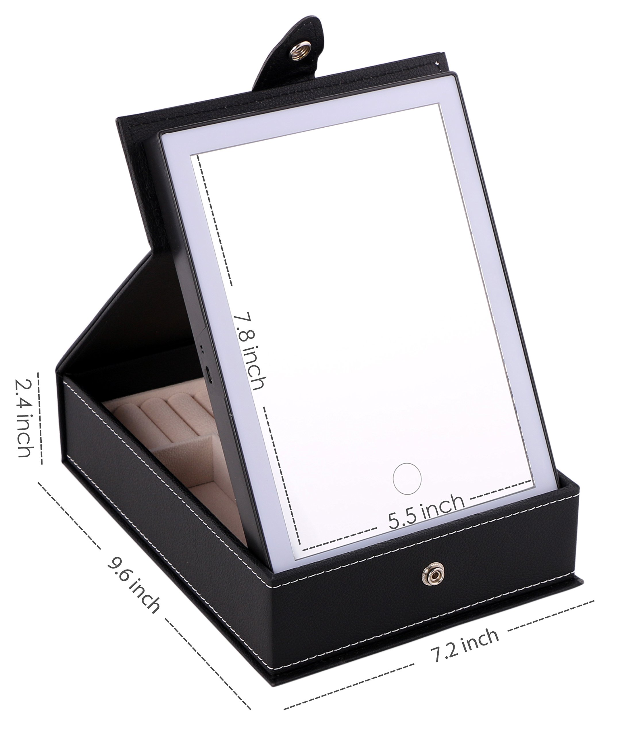 Omeet LED Lighted Makeup Mirror with Storage Box for Cosmetics and Jewelry Storage - USB and Battery Operated by Omeet (Image #4)