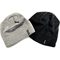 Merino Wool Beanie Hat Two Pack Dark Grey Light Grey Men,Women Kids