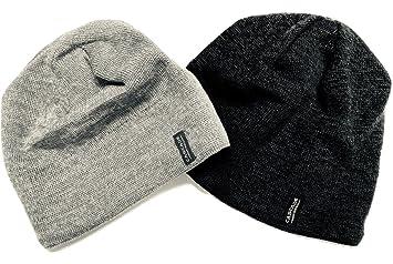 3cc071ecd8396 Cascade Mountain Tech Merino Wool Beanie Hat Two Pack Dark Grey and Light  Grey for Men