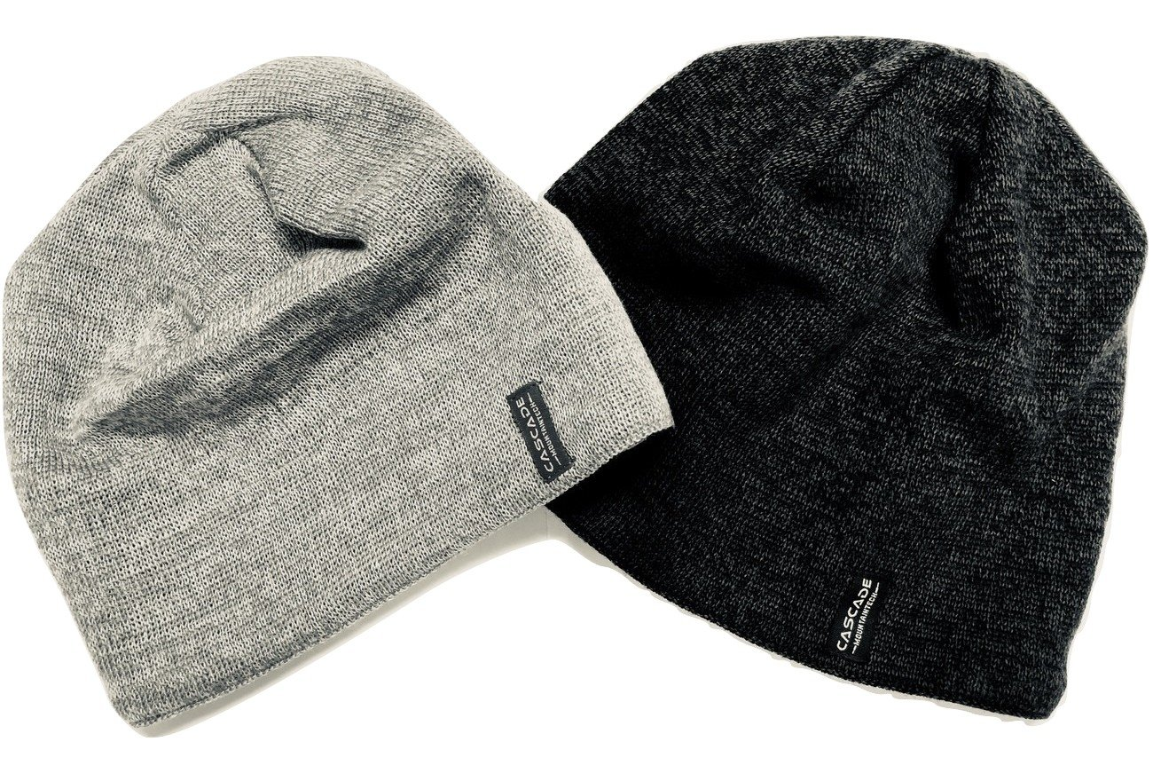 Merino Wool Beanie Hat Two Pack Dark Grey and Light Grey for Men,Women, and Kids by Cascade Mountain Tech