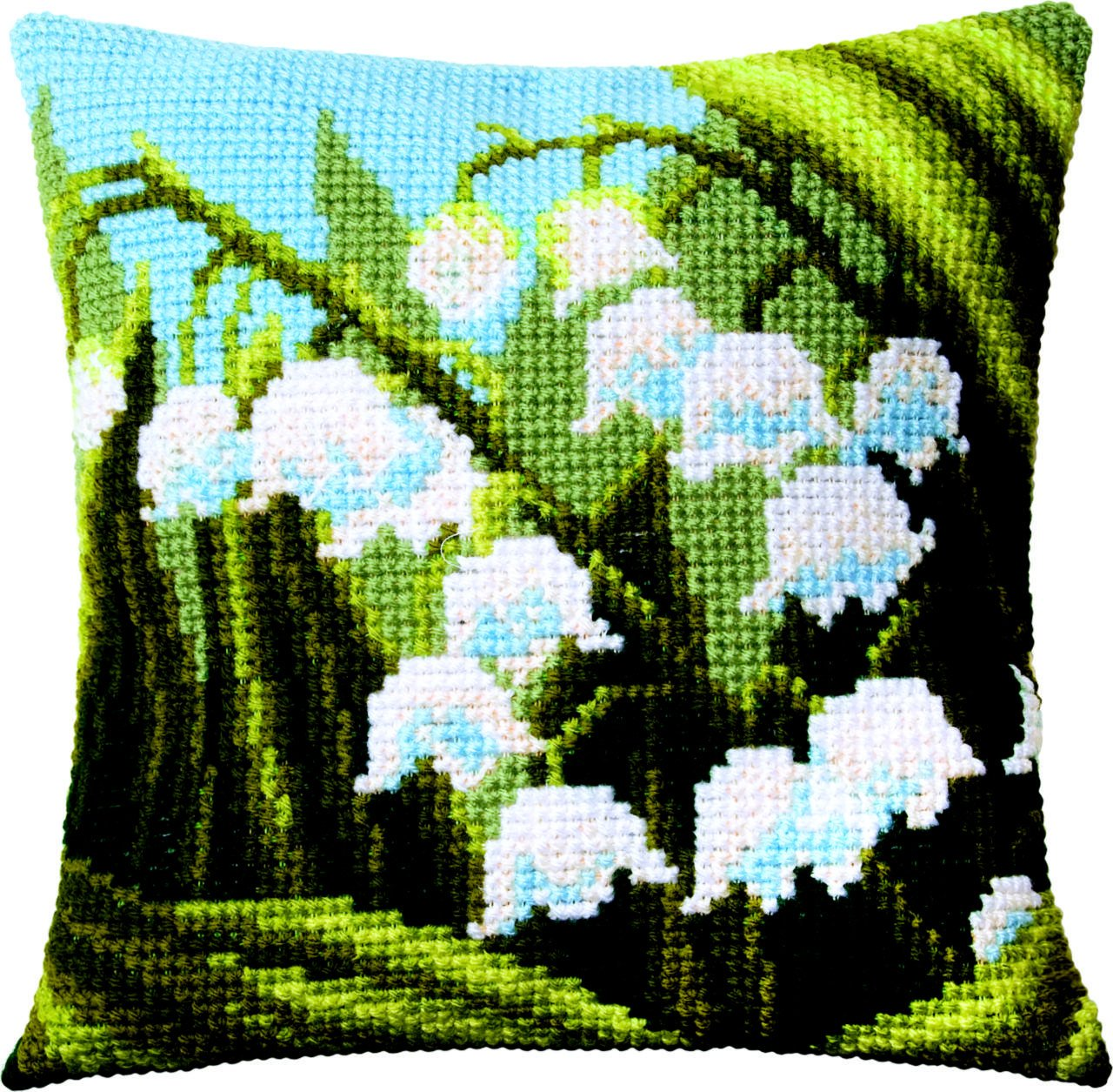 EMBROIDERY KIT COUNTED CROSS STITCH PILLOW CHARIVNA MIT LILY OF THE VALLEY RT171