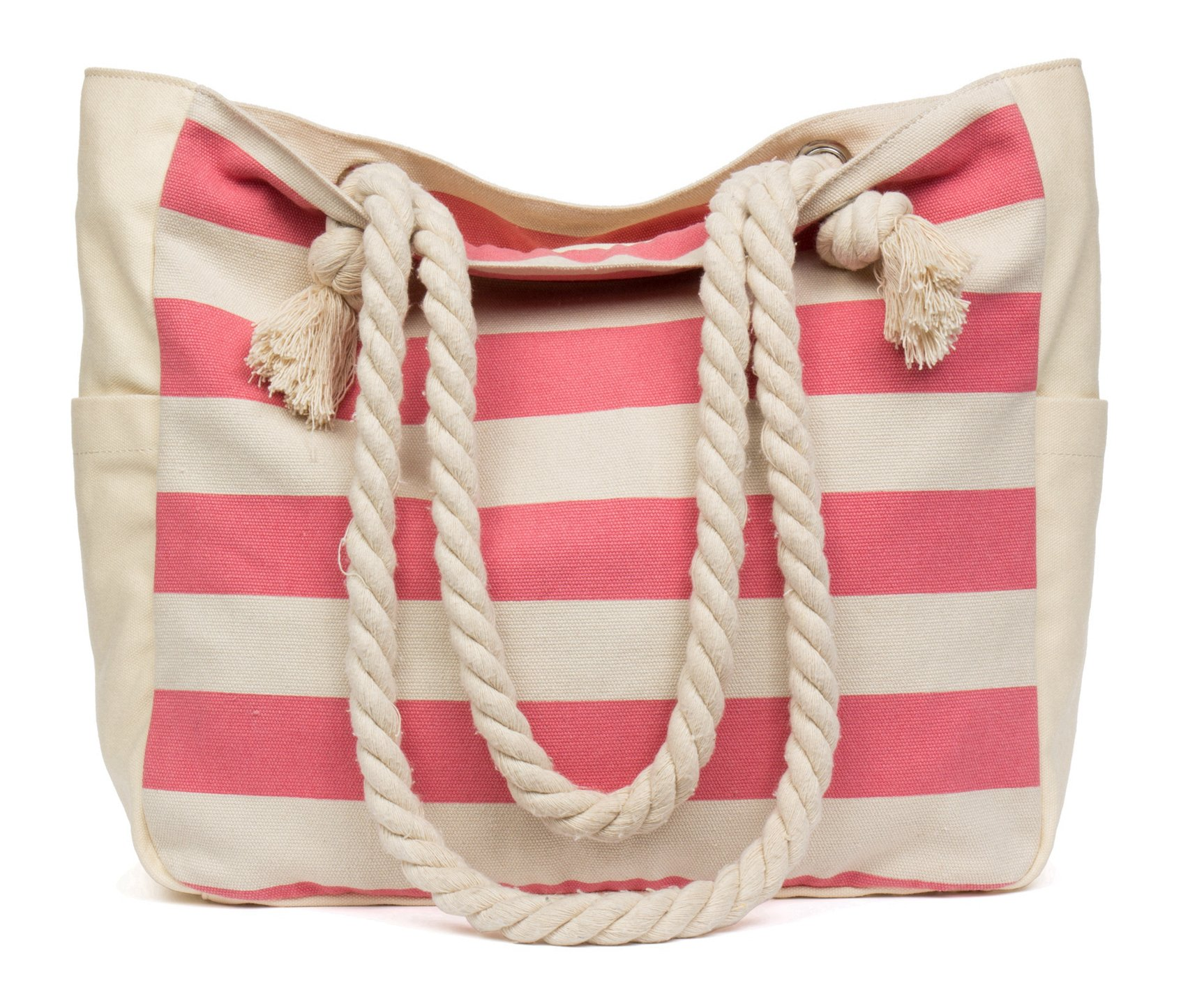 Malirona Beach Canvas Travel Tote Bag (Pink Stripes)