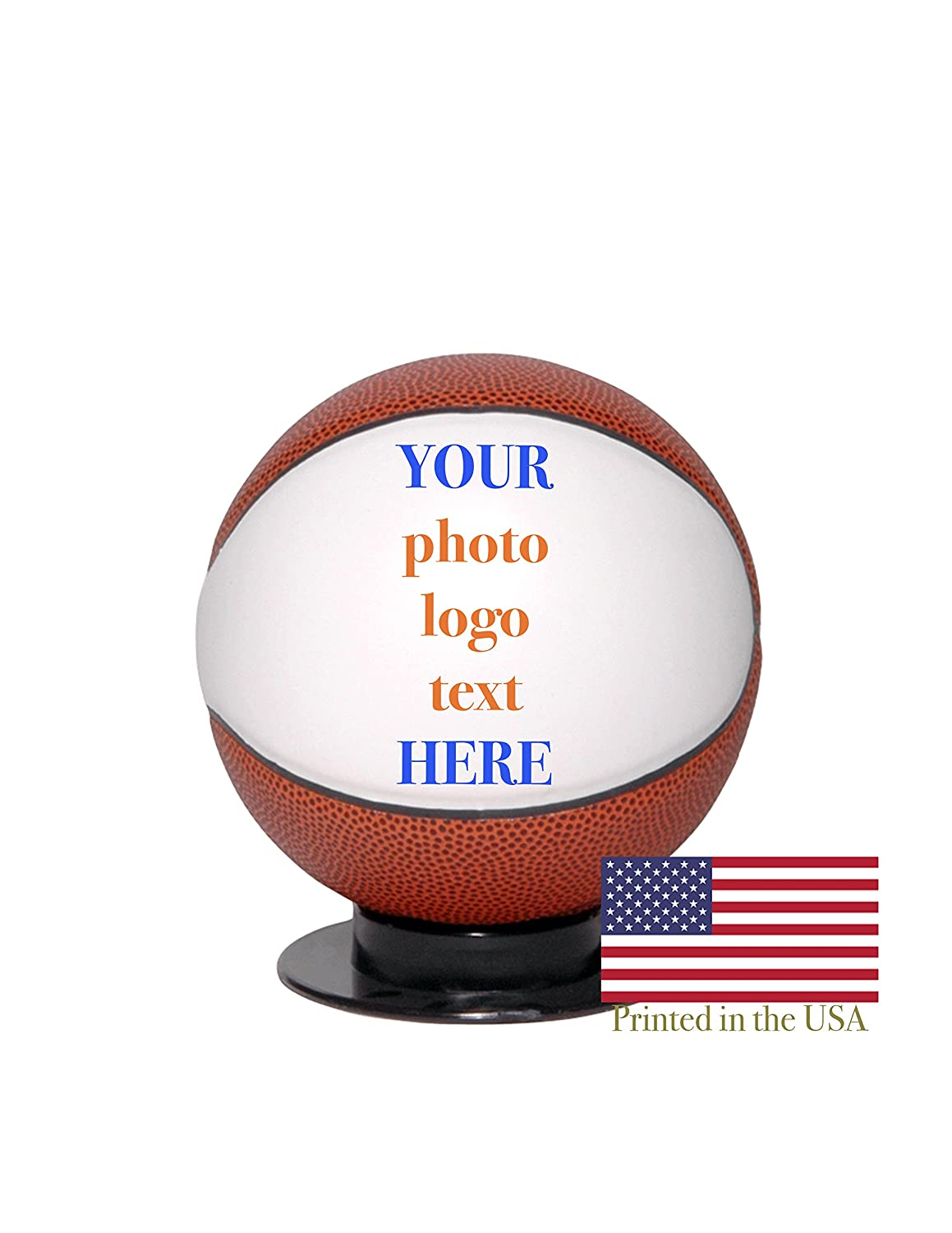 Custom Personalized Mini Basketball - 6 Inch Mini Sized Basketball - Ships Next Day, High Resolution Photos, Logos & Text on Basketballs - for Trophies, Personalized Gifts Ballstars