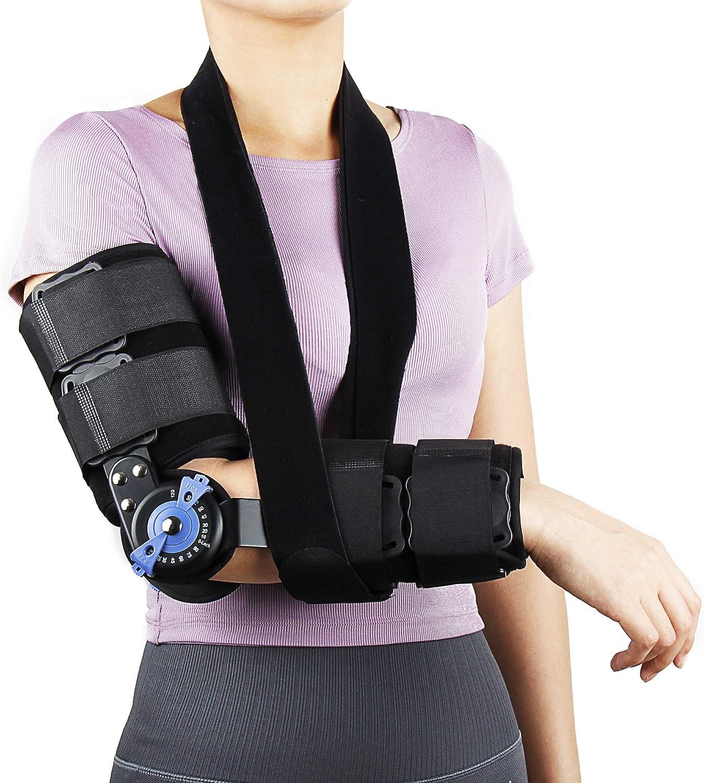 REAQER Órtesis de Codo con Bisagras de Codo Soporte de Codo ROM Para Codo Lesiones de Dislocaciones/Epicondilitis/Fracturas, y Más