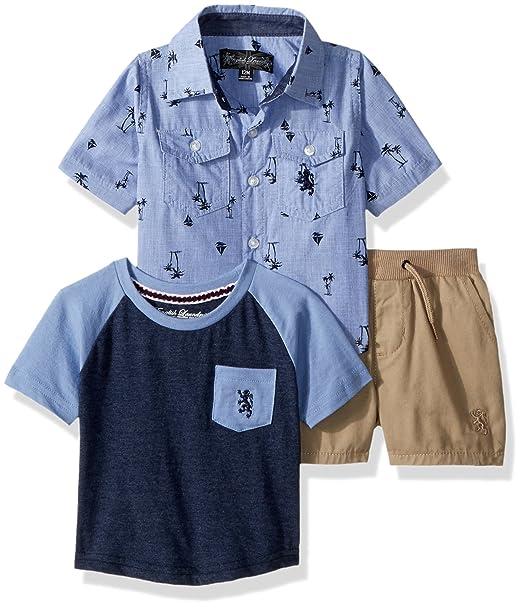 English Laundry Camisa de Deporte para bebés y niños con Estampado de  Chambray 6af40f26ec45b
