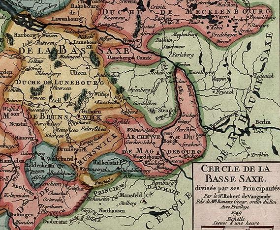 Lower Saxony Germany Map.Amazon Com Germany Lower Saxony Holstein Brunswick Mecklenburg C 17
