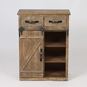 Amazon Rustic Wood Sliding Barn Door Console Cabinet Kitchen