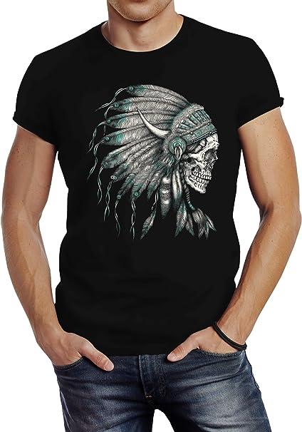 Damen T-Shirt Indianer Federn Slim Fit Neverless®