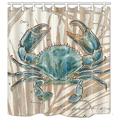 NYMB Ocean Animal Decor Blue Crab Shower Curtain 69X70 Inches Mildew Resistant Polyester Fabric Bathroom Fantastic