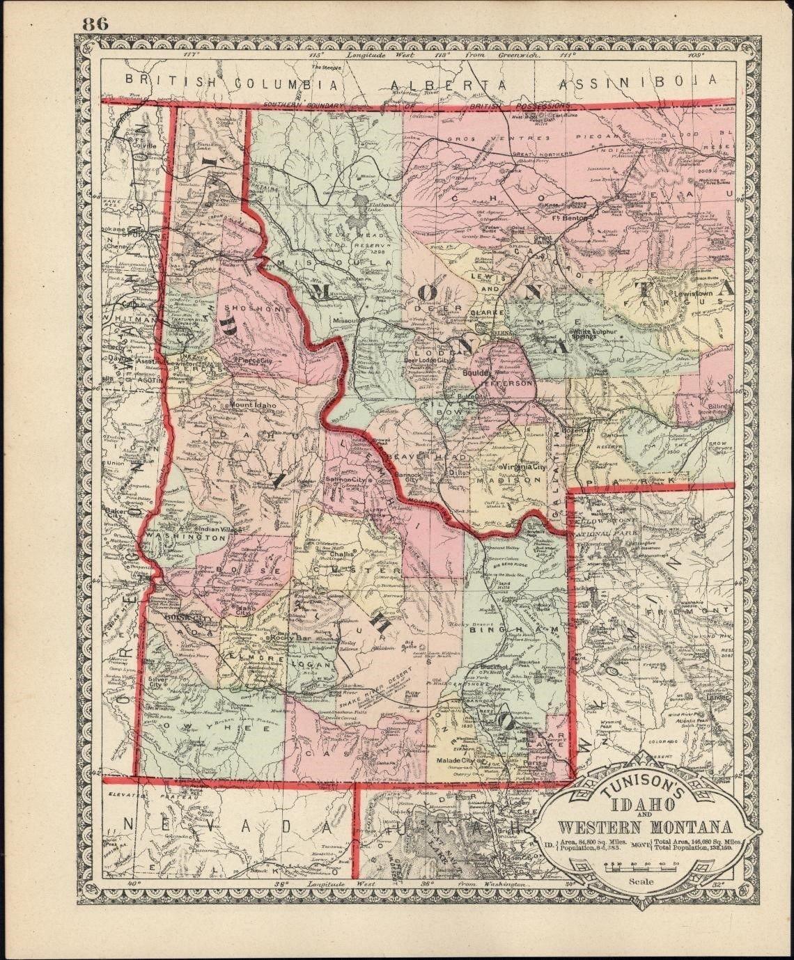 Amazon Com Idaho Western Montana Wyoming C 1890 Scarce Early
