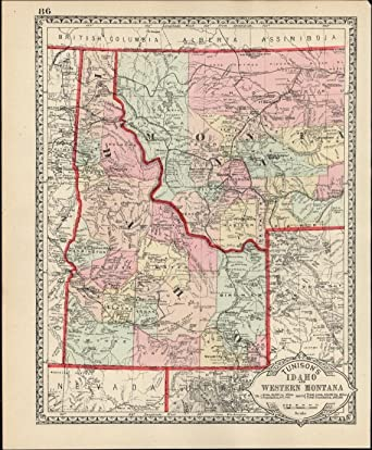 Amazon.com: Idaho Western Montana Wyoming c.1890 scarce early ...