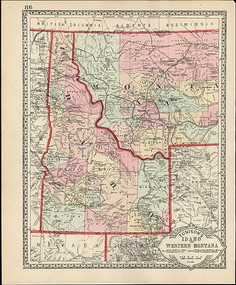 Amazon.com: Idaho Western Montana Wyoming c.1890 scarce early ...