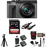 "Panasonic DC-ZS70K Lumix 20.3MP, 4K Touch Enabled 3"" LCD, 180 Degree Flip-Front Display, 30x Lens 64GB Bundle"