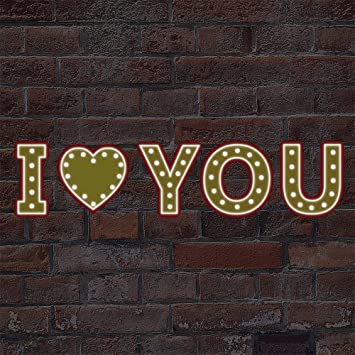walplus removable self adhesive wall stickers bistro letter lights glow in dark i love you - Multi Cafe Decoration
