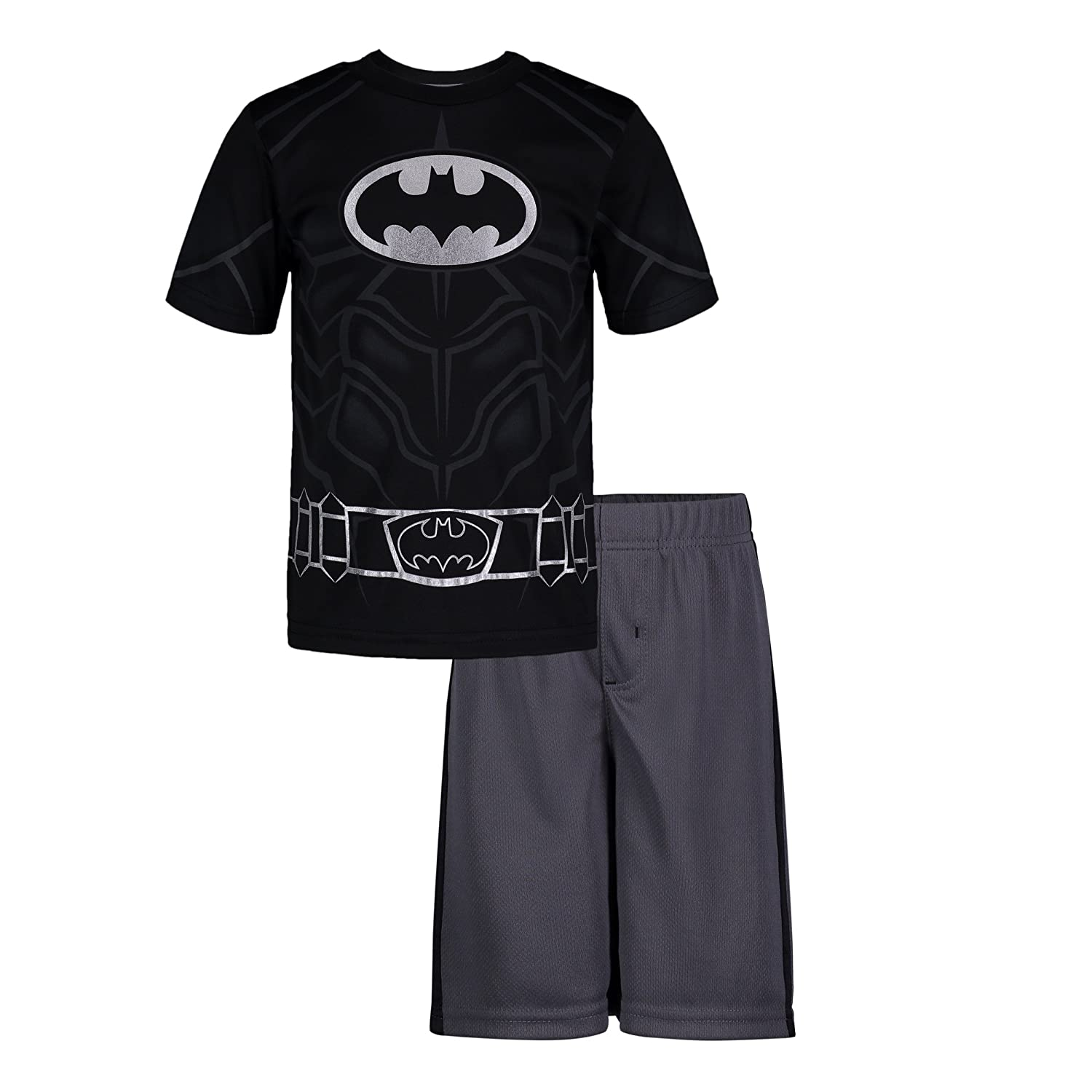 c729122ac11 T-Shirt: 100% Polyester performance jersey; Shorts: 100% Polyester flatback  mesh. Athletic tee and shorts set featuring DC Comics superheroes Batman  and ...