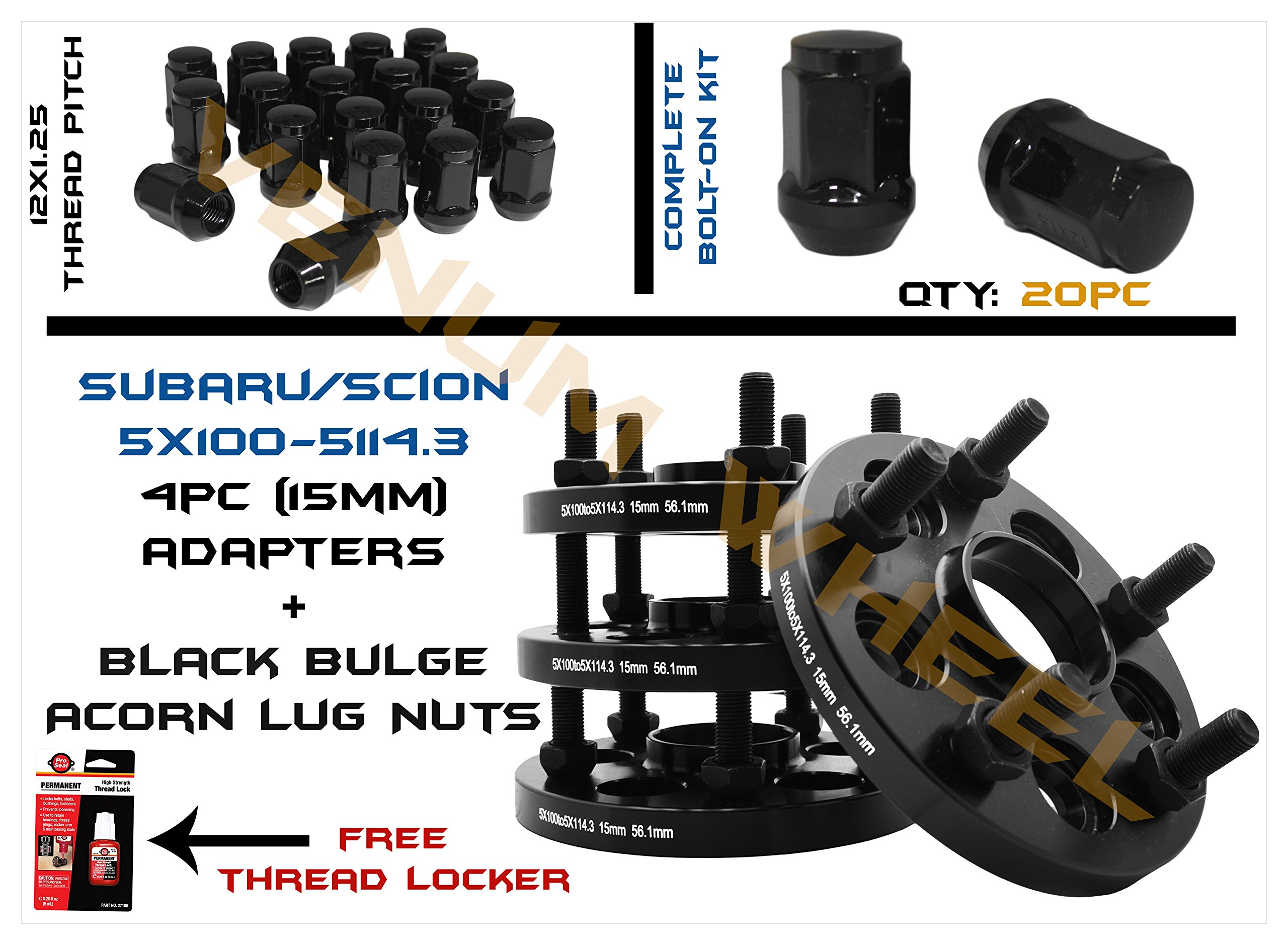 4pc 15mm Subaru Conversion Adapter Kit 5x100 to 5x114.3 56.1mm Hub Centric | 20 Black Bulge Acorn Lug Nuts M12x1.25 Thread Pitch