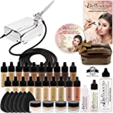Complete Professional Belloccio Airbrush Cosmetic Makeup System with a MASTER SET of All 17 Foundation Color Shades in 1/4 oz Bottles - Blush, Bronzer, Highlighter, 11 Free Bonus Items, DVD