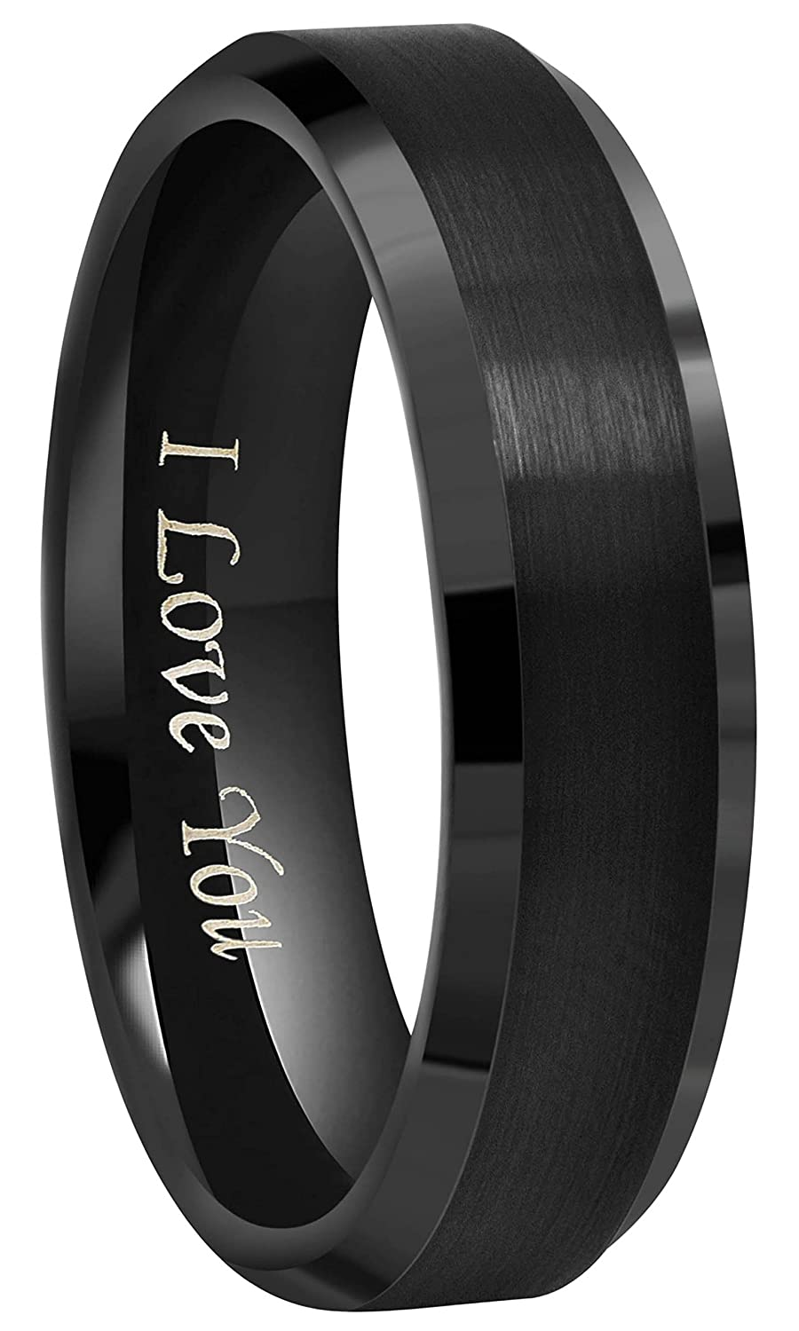 Crownal 6mm 8mm 10mm Black Tungsten Wedding Band Ring Engraved I Love You Men Women Brushed Finish Beveled Edges Size 4 To 17 Amazon: Black Tungsten Wedding Band Cross At Websimilar.org
