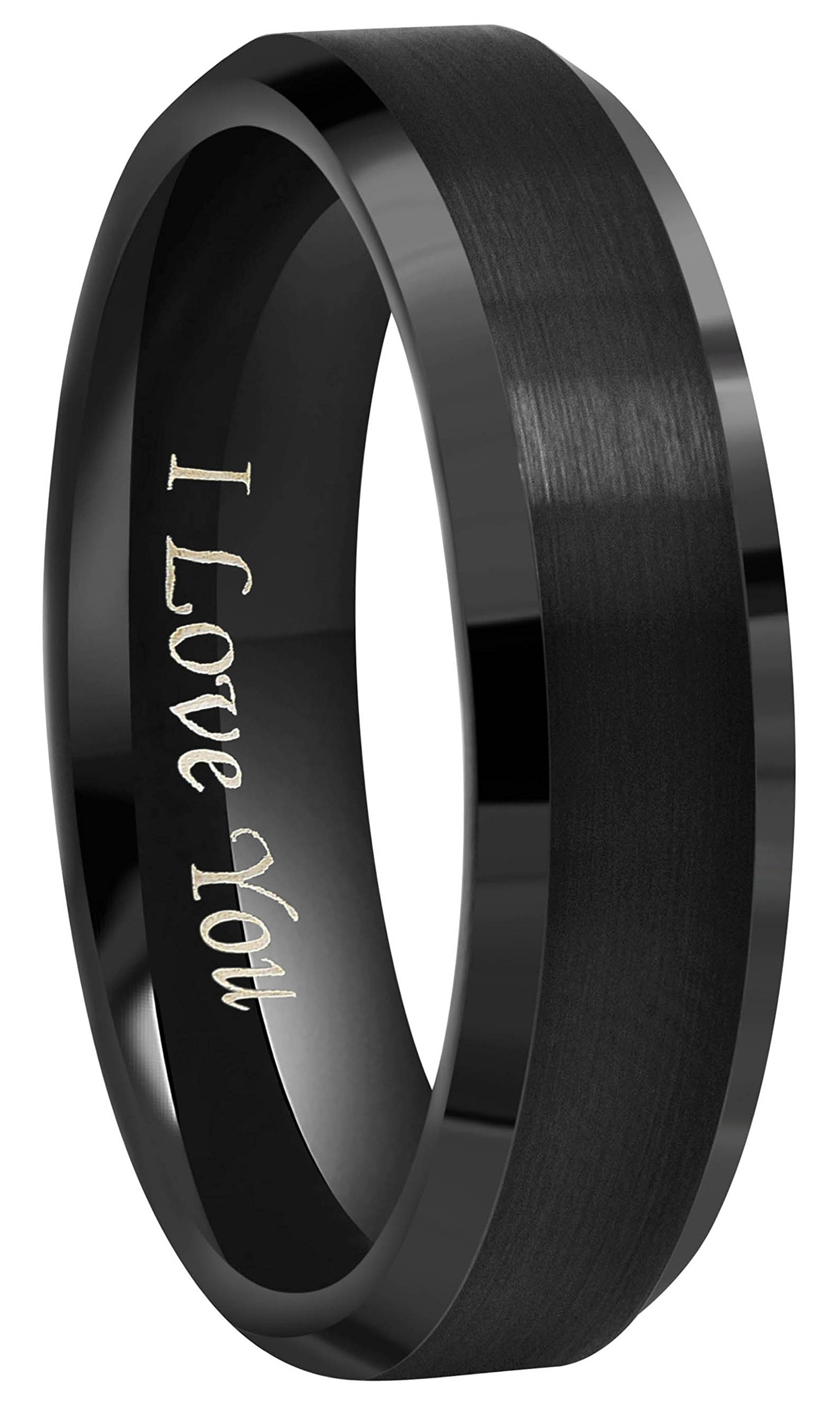 CROWNAL 4mm 6mm 8mm Black Ceramic Wedding Band Ring Men Women Couple Brushed Finish Engraved I Love You Comfort Fit Size 4 To 16(6mm,11.5)